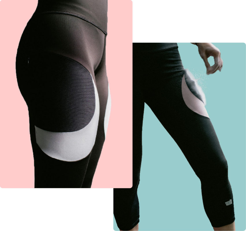 ECH Apparel climbing leggings with chalk pouch in pocket